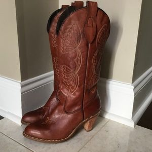 Vintage CAPEZIO brown Butterfly Cowboy Boot 6.5 M
